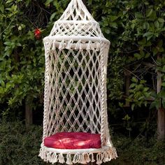 This chair/swing is the most popular of all our hammock chairs. It is beautifully hand crafted by artisans with eco-friendly cotton thread. The double latch weave provides softness while three bamboo wood rings provide strength, durability and beauty. It is not only comfortable but fun, a convers...