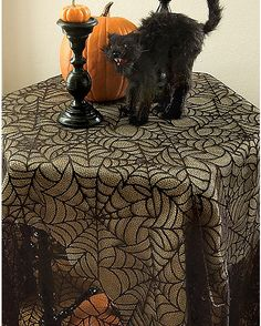 Gothic Lace Spiderweb Table Topper - Spirithalloween.com