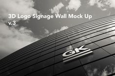3D Logo Signage Wall Mock Up / v.3 by Gk-creative on @creativemarket