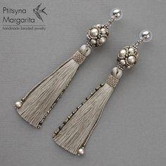 Long tassel earrings Greige earrings with