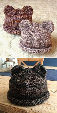 Itty Bitty Bear Cubs - Free Pattern - knitting is as easy as 3 The St . - Itty Bitty Bear Cubs – Free Pattern – Knitting is as easy as 3 Knitting boils down to thr - Baby Hat Knitting Patterns Free, Baby Hats Knitting, Knitting For Kids, Knitting For Beginners, Easy Knitting, Knitting Needles, Knitting Projects, Knitted Hats, Free Pattern