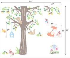 Nursery Kids Removable Wall Vinyl Decal Animals in by evgieNev