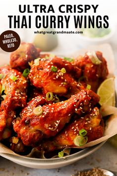 Easy oven baked wings coated in the most flavorful Thai curry sauce! These are super crispy and delicious and so perfect for game day. Made using all real food ingredients and they are paleo, Whole30, and keto! #gamedayfood #gamedayappetizer #paleo #whole30 #keto #glutenfree #dairyfree #healthy #ovenwings #thaicurry #lowcarb Gluten Free Appetizers, Game Day Appetizers, Appetizer Recipes, Dinner Recipes, Healthy Chicken Recipes, Meat Recipes, Real Food Recipes, Healthy Low Carb Recipes, Dairy Free Recipes