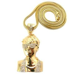 """Gold Justin Bieber Caricature Pendant with a 36 Inch Franco Chain Iced Out Necklace JOTW. $32.95. Great Quality Jewelry!. The approximate measurements of this pendant in inches are: 2"""" from right to left and 3.75"""" from top to bottom.. 100% Satisfaction Guaranteed!"""