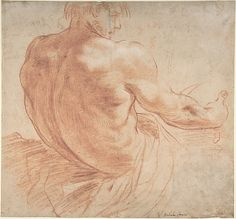 Seated Youth Facing Right, Seen from the Back Annibale Carracci (Italian, Bologna 1560–1609 Rome) Date: 1560–1609 Medium: Red chalk with some white chalk highlights (recto); scribbles in red chalk (verso)