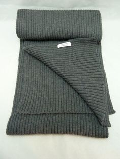 New Charcoal Gray Cashmere Wool Scarf by Barneys New York Super Soft 74 In Long #BarneysNewYork #Scarf