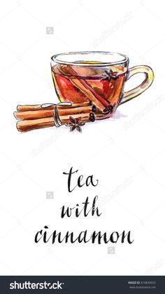 Glass cup of tea with dried cinnamon and anise star, hand drawn - watercolor Illustration-食品及饮料,物体-海洛创意(HelloRF)-Shutterstock中国独家合作伙伴-正版素材在线交易平台-站酷旗下品牌