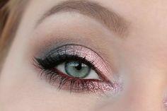 - Zoeva Cool Spectrum Eyeshadow Palette - Makeup  Mekka felt tip eyeliner - NYX slide on pencil Golden Bronze - Too Faced glitter insurance glitter glue - BH Cosmetics loose glitter Baby Pink - Lumene truly bold and curly mascara