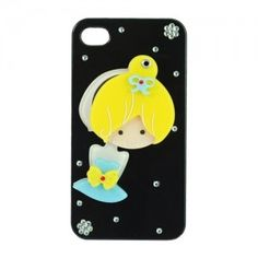 $6.84 Cute Cartoon Girl Pattern Plastic Case For iphone 4S 4 With Mirror(Black) Edealbest.com