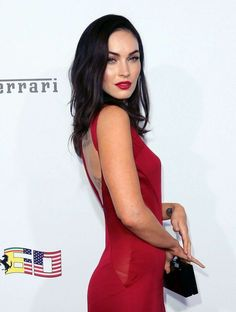 Megan Fox Wore Long Red Dress With Ferrari On the Red Carpet  in Beverly Hills-