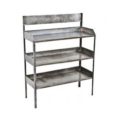 refinished c. 1930's american vintage industrial freestanding pressed and folded cold-rolled steel three-tier corner store product display shelf