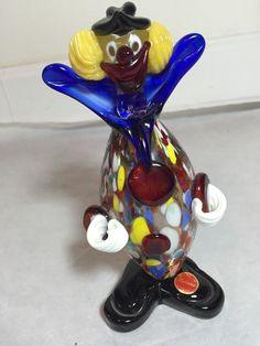 Murano Glass Confetti Body Clown with Original Sticker, Italy