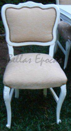 Silla antigua restaurada, laqueado blanco y tapizado beige