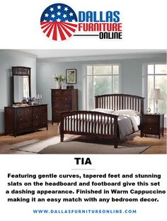 Looking for a #BedroomSet that will easily fit in with your home's decor? The Tia #bedroom collection by Coaster, with its gentle curves and clean lines is a fantastic choice! Included is a Queen frame, mirror, nightstand, & dresser--all finished in cappuccino with brushed nickel hardware. Get complete details at our site or by calling/texting 972-698-0805! #furniture #decorating #redecorating #bedrooms #beds #dressers #mirrors #nightstands #DFW #Dallas #FortWorth King Beds, Queen Beds, Transitional Bed Frames, Home Bedroom, Bedroom Decor, Queen Frame, Wood Nightstand, Headboard And Footboard, Online Furniture