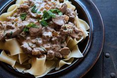 Beef stroganoff made with ground beef in a sour cream mushroom sauce, with onions, parsley, paprika, served over egg noodles.  Will try this with ground bison.