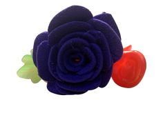 Purple color flower banana pins (one flower), made of imported  rubber sheets, designed and crafted by village women, giving a   new fashion style to hair accessories.   Color: Purple   Material: Imported Rubber sheets   Base material: Imported plastic Banana pin