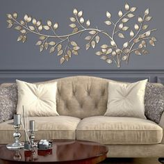 Stratton Home Decor Brushed Gold Flowing Leaves Wall Decor (60.00 X 1.25 X 28.00) & Mirrored Chevron Print Wall Decoration | Pinterest | Wall ...