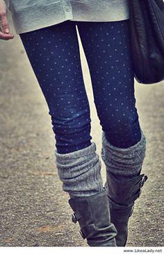 Long gray sweater, polka dot jeans, gray boot socks- love winter looks Look Fashion, Fashion Outfits, Womens Fashion, Jeans Fashion, Fashion Fall, Fashion Shoes, Fashion Trends, Fall Winter Outfits, Autumn Winter Fashion