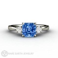 Ceylon Blue Sapphire Engagement Ring Asscher Blue by RareEarth