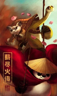 master and student by wendichen.deviantart.com [ Kung Fu Panda : Oogway, Shifu, and Po.Love the characters created in both Kung fu Panda movies!