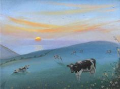 NICHOLAS HELY HUTCHINSON  Cows by the Sea, Sinking Sun Oil on board 10 x 14 ins £2,300