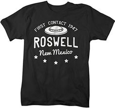 Shirts By Sarah Men's Roswell New Mexico T-Shirt Alien Shirts UFO Tee - Black / XX-Large - 2