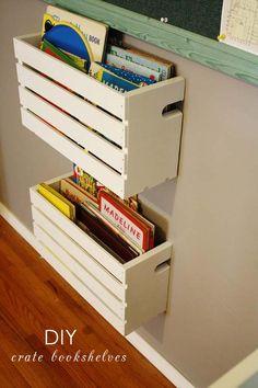 Ideas diy shelves for kids room organizations wooden crates Crate Bookshelf, Bookshelf Ideas, Pallet Shelves, Diy Bookshelves For Kids, Gutter Bookshelf, Wood Crate Shelves, Diy Bookcases, Diy Regal, Diy Casa