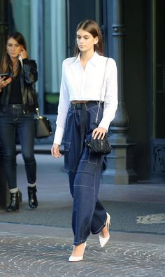 Slouchy denim pants & white blouse