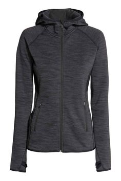 Fleece vest met kap - Donkergrijs gemêleerd - DAMES | H&M BE