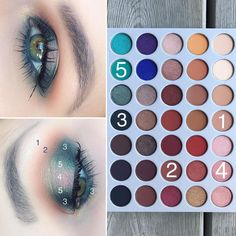 Peacock hallo eye look @morphebrushes X @jaclynhill Eyeshadow Palette (now available at @ultabeauty ) 1. M.F.E.O.- Transition Shade 2.…