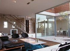 Interior of wood and stone house in Buenos Aires