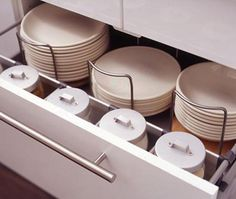 Organized Kitchen Drawers Think outside the box when it comes to plate storage Dish Drawers, Kitchen Drawers, Kitchen Cabinets, Kitchen Soffit, Upper Cabinets, Kitchen Cabinet Organization, Kitchen Storage, Organization Ideas, Storage Ideas