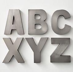 """Modern Metal Letter in pewter finsh 12 1/2""""  $29 restoration hardware"""