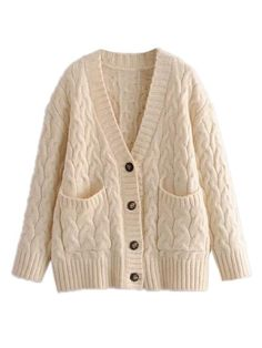 Goodnight Macaroon 'Adrianne' Cable Knit Button Down Cardigan Estilo Hippy, Cable Knit Cardigan, Weekend Outfit, Korean Outfits, Casual Outfits, Cozy Outfits, Size Clothing, Button Downs, Knitwear