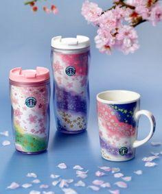 Japan limited edition Starbucks sakura tumblers 2010...so pretty it makes me jealous >.