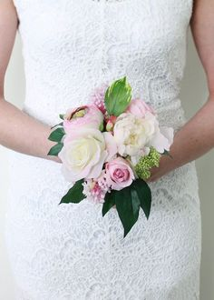 "Peony and Rose Wedding Silk Bouquet in Pink and Cream<br>10.5"" Tall"