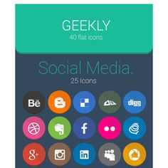 Geekly  40 Flat Icons Icons Behance deviantART Dribbble Facebook Flat Free Google Plus Graphic Design Icon Instagram Linkedin Pinterest PNG PSD Resource Round Social Media Twitter WordPress YouTube