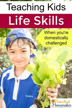 Teaching Kids Life Skills when you're domestically challenged - tips and tools to make it easy and fun! Teaching Life Skills, Teaching Kids, Child Life, Home Schooling, Homeschool Curriculum, Kids Health, Healthy Kids, Homemaking, Challenges
