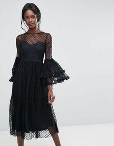 Vestido midi transparente de malla de lunares con manga exagerada de Lace & Beads