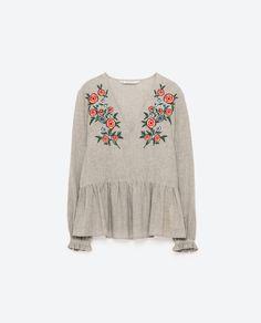 Embroidered V-Neck Blouse I ZARA