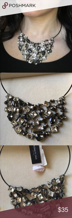 Kenneth Cole necklace Hard wire black silver necklace with pendants. Give your outfit a little statement with this necklace 👌 Kenneth Cole Jewelry Necklaces