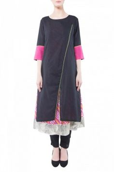 Black & pink kurta lining set