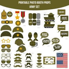Instant Download Army Military Camo America Hooah Boot Camp Birthday Party Printable Photo Booth Props Photobooth Props