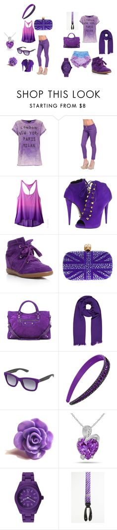 """""""Girly vs. Tomboy: Purple"""" by mrsstyles814 ❤ liked on Polyvore featuring Topshop, Levi's, Dollhouse, Giuseppe Zanotti, Isabel Marant, Alexander McQueen, Balenciaga, River Island, Italia Independent and L. Erickson"""
