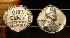 1943 USA Steel Wheat Penny Coin Guitar & Mandolin Pick ... Free Worldwide Shipping