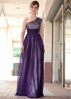 In Stock Gorgeous A-line One Shoulder Neckline Empire Waist Purple Full Length Evening Dress