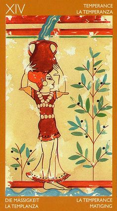 Temperance - Etruscan Tarot by Silvana Alasia Temperance Tarot Card, Soul Collage, Online Tarot, Fortune Telling, Tarot Readers, Major Arcana, Oracle Cards, Tarot Decks, Ancient History