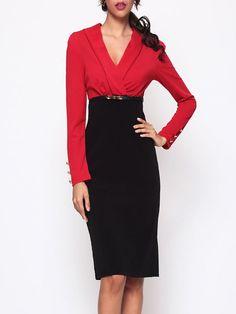 V Neck Dacron Color Block Bodycon-dress - fashionme.com