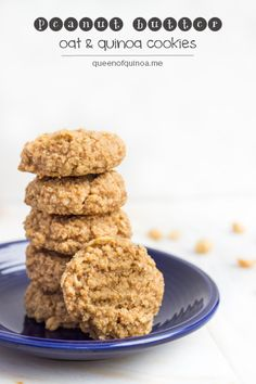 Peanut Butter Oat & Quinoa Cookies - sweetened with stevia and maple syrup. For a healthy, guilt-free dessert!