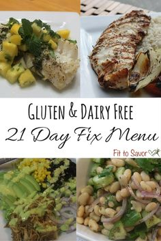 This Gluten & Dairy Free 21 Day Fix menu is AWESOME! You don't feel like you're missing out at all! With options like Chicken Taco Salad, Fish with Tropical Fruit Salsa, Greek White Bean Salad and more! So yummy! And she keeps it really simple, which is so helpful!